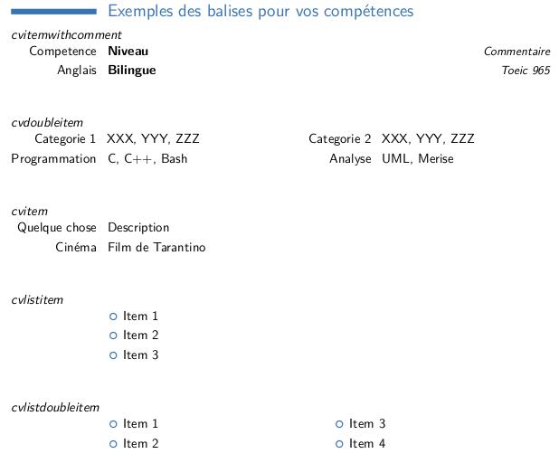 Rendu du code précédent avec Latex et Moderncv